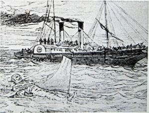 Captain Paul Boyton floating in his rubber suit with the media vessel behind May 1875. LS