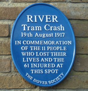 Crabble, River, Tram Accident Commemoration Dover Society Blue Plaque. AS 2015