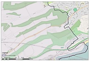 Farthingloe Valley showing Areas of Outstanding Natural Beauty (AONB). Openstreetmap