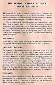 Junior Leaders objectives circa 1960s - Thanks to Roger Gray