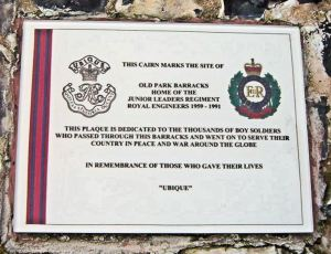 Junior Leaders memorial plaque on the Cairn made by them and dedicated to all those who passed through Old Park Barracks. Thanks to Roger Gray