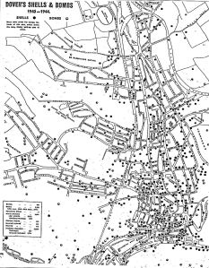 Map of Dover showing World War II bombing and shell damage