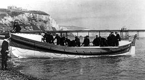 Mary Hamer Hoyle Lifeboat 1901-1914. Promanade Pier in background. Dover Museum