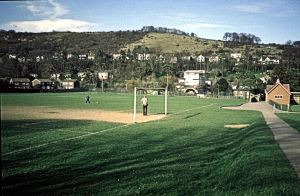 River Recreation Ground 1988 with Old Park hill in the background. Dover Museum