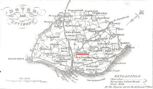 Whitfield underlined in red on the map of East Kent showing turnpikes and large Estates 1828