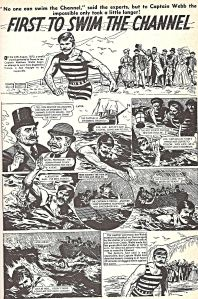 Cartoon depiction of Captain Webb's momentous swim. Dover Library
