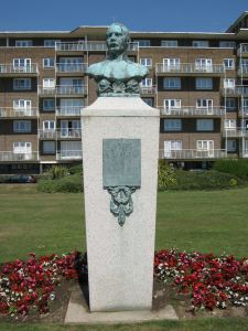 Captain Matthew Webb memorial in front of the Gateway Flats,  Marine Parade. LS 2010