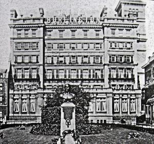 Captain Matthew Webb  Memorial on Clarence Lawn in front of the Burlington Hotel  c1904 - Adams Collection Dover Museum
