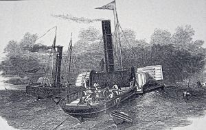 Paddle steamer Goliath paying out the Submarine Cable across the Strait of Dover. 28 August 1850 Illustrated London News