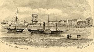 Harbour, Pilot's Tower and Paddle Steamers 1852. Dover Museum