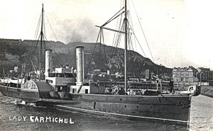 Lady Carmichael Paddle Steamer was converted to cable laying renamed Alert in 1889. Dover Museum