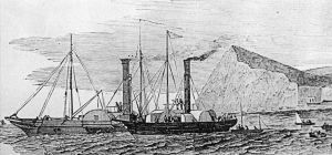 Blazer laying the first submarine cable although the operation started from South Foreland, illustrators of the time showed Shakespeare Cliff in the background. Illustrated London News 01.09.1851