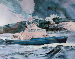 Painting (detail) of the RNLI Lifeboat Rotary Service) presented to HRH Queen Elizabeth the Queen Mother on naming 30.10.1979. RNLI-Dover