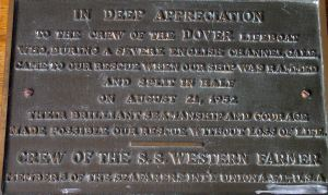Plaque from the the crew of Western Farmer, rescued 21.08.1952. RNLI-Dover