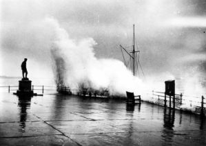 Stormy Weather c 1950 - Dover Seafront with statue of Charles Rolls. Dover Museum
