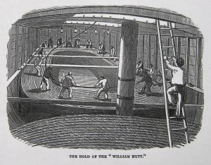 Submarine cable laying hold of the William Hutt. Illustrated London News 14.05.1853