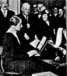 Teleprinter being introduced to the Post Office. Times 01.11.1932.