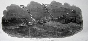 William Hutt paying out the electric cable. Illustrated London News 14.05.1853
