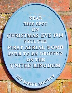 Dover Society Plaque - First Aerial Bomb to fall on the United Kingdom.Taswell Stree Christmas Eve 1914. Alan Sencicle