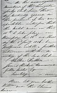 Letter from Swingate Jockey Club c July 1856. Dover Library