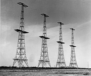 The four original transmitting towers at Swingate. Dover Museum