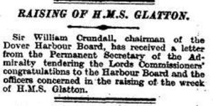 Congratulations on the lifting of the Glatton from the Permanent Secretary of the Admiralty. Times 08.04.1926