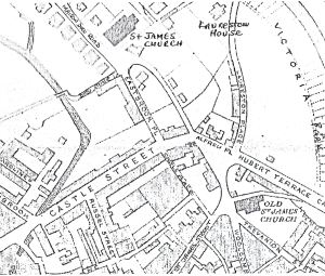 1890 Map showing location of Dieu Stone Lane, Eastbrook Place and Castle Place. LS