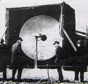 Micro-wave transmission using a parabolic reflector Leathcote Point spring 1931. Dover Express