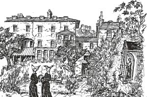 Sisters of St Vincent in the garden of Eastbrook Place looking towards the Castle.