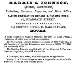 Albion Library run by Henry Harris & Johnson 86 Snargate Street and 16 Market Square c1845
