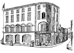 Batcheller's Kings Arms library 1 Snargate Street 1826. Drawing by Lynn Candace Sencicle