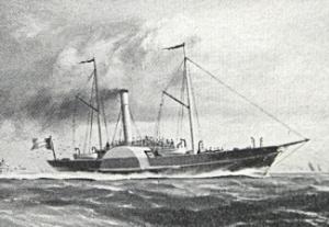Chermin-de-Fer 1846.. The first Belgium steam Packet by Gordon Ellis (detail) 1949