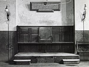 Lord Wardens bench, Court of Lodemanage, St James old Church, post 1935 now in Dove Museum. Dover Library