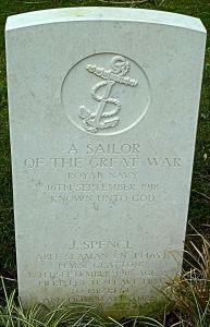 Gravestone of an Unknown Sailor d 16.09.1918 & J Spence 16.09.1918 victims of the Glatton accident. St James Cemetery Dover AS 2015