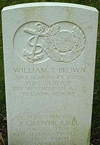 Gravestone of Seaman William T Brown d 21.09.1918 & Private J Gilliver d 16.09.1918  victims of the Glatton accident. St James Cemetery Dover. AS 2015