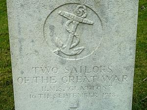 Gravestone of  two Unknown Sailors, victims of the Glatton accident. St James Cemetery, Dover - AS 2015