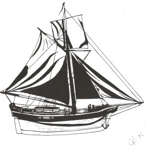 King George 80ton sloop built about 1780. Drawn by Lynn Candace Sencicle from the shipbuilders model in the Dover Museum
