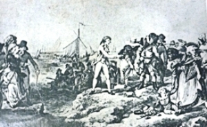 Landing on Dover beach from cross Channel ships in the 18th century. Grasemann & McLachlan