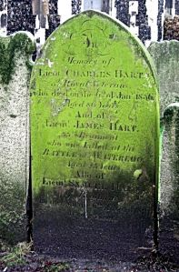 Gravestone of Lt. James Hart age 23years killed at the Battle of Waterloo. St Mary's Church graveyard. LS 2011