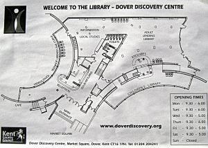 Map of the Dover Library showing computer terminals