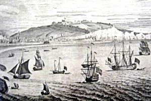 outh Prospect of Dover c 1739 showing a variety of ships in the Bay with the Castle beyond. Dover Harbour Board