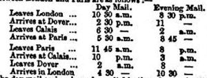 Train-Packet schedules Spring 1850 presented by South Eastern Railway Company to the Inquiry