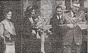 Mayor Bill Fish welcomes Lady Cornwallis before handing her the silver key to unlock the library door at Maison Dieu House. Dover Express 13.06.1952