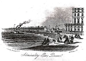 Admiralty Pier with a steamer approaching c1870