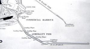 Map dated 1919 of Admiralty Pier showing the railway lines layout prior to the building of the extension landing stage and Marine Station started in 1909