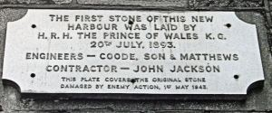 Prince of Wales Pier Foundation Stone first laid 20 July 1893 relaid 1954.