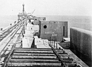Admiralty Pier Electric Light emplacement 03.05.1906 note lighthouse. Dover Museum