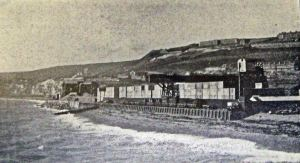 Western Block works on Shakespeare beach note the low seawall. Dover Library