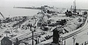 Admiralty Pier during widening for the Marine Station circa 1912. Dover Harbour Board.