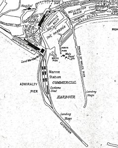 Admiralty Pier map showing the new Marine station and the landing stage